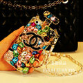 Classic Chanel Perfume Bottle Crystal Case Rhinestone Cover for iPhone 7S - White
