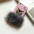 Fendi Karl Lagerfeld Owl Rabbit Fur Leather Cases for iPhone 7S Hard Back Covers Unique - Pink