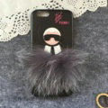 Fendi Karl Lagerfeld Rabbit Fur Leather Cases for iPhone 7S Hard Back Covers Unique - Black