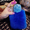 Floral Swarovski Chanel Perfume Bottle Rex Rabbit Rhinestone Cases For iPhone 7S - Blue