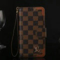 Louis Vuitton LV Flip Leather Cases Checks Pattern Button Holster Cover For iPhone 7S - Brown