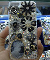 Swarovski crystal cases Flower Chanel Bling diamond cover skin for iPhone 7S - Black