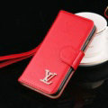 Top Mirror Louis Vuitton LV Patent leather Case Book Flip Holster Cover for iPhone 7S - Red