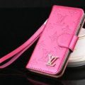 Top Mirror Louis Vuitton LV Patent leather Case Book Flip Holster Cover for iPhone 7S - Rose