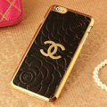 Unique Chanel Metal Flower Leather Cases Luxury Hard Back Covers Skin for iPhone 7S - Black