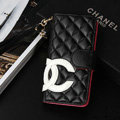 Unique Sheepskin Chanel folder leather Cases Book Flip Holster Cover for iPhone 7S - Black