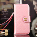 Best Mirror Chanel folder leather Case Book Flip Holster Cover for iPhone 8 - Pink