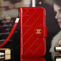 Best Mirror Chanel folder leather Case Book Flip Holster Cover for iPhone 8 - Red