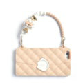 Candies Silicone Cover for iPhone 8 Fashion Women Handbag Pearl Chain Soft Case - Beige