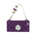 Candies Silicone Cover for iPhone 8 Fashion Women Handbag Pearl Chain Soft Case - Purple