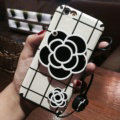 Chanel Camellia Mirror Handbag Silicone Cases for iPhone 8 Rope Check Soft Cover - White