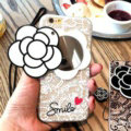 Chanel Camellia Mirror Lace Silicone Cases for iPhone 8 Rope Handbag Soft Cover - White