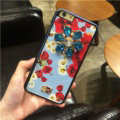 DG Crystals Leather Back Cover for iPhone 8 Dolce Gabbana Flower Pattern Hard Case - Blue
