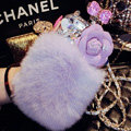 Floral Swarovski Chanel Perfume Bottle Rex Rabbit Rhinestone Cases For iPhone 8 - Purple