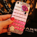 Funky Chanel Bling Rhinestone Flower Case Red lips Diamond Cover for iPhone 8 - Pink