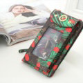 LV Pattern View Window Touch Leather Case Pocket Wallet Universal Bag for iPhone 8 - Green