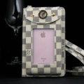 LV Plaid View Window Touch Pocket Wallet Leather Case Universal Bag for iPhone 8 - Beige
