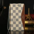 Louis Vuitton LV Pattern Genuine Leather Cases Book Flip Holster Cover For iPhone 8 - Brown