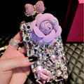 Luxury Swarovski Chanel Perfume Bottle Floral Rhinestone Cases For iPhone 8 - Purple