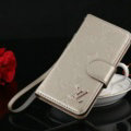 Top Mirror Louis Vuitton LV Patent leather Case Book Flip Holster Cover for iPhone 8 - Beige