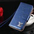 Top Mirror Louis Vuitton LV Patent leather Case Book Flip Holster Cover for iPhone 8 - Blue