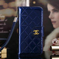 Best Mirror Chanel folder leather Case Book Flip Holster Cover for iPhone 8 Plus - Blue