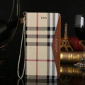 Burberry Pattern Genuine Leather Cases Book Flip Holster Cover For iPhone 8 Plus - Brown