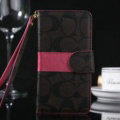 Calssic Coach Pattern Flip Leather Cases Book Holster Cover For iPhone 8 Plus - Coffee