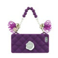 Candies Silicone Cover for iPhone 8 Plus Fashion Handbag Tassels Pearl Chain Soft Case - Purple
