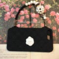 Candies Silicone Cover for iPhone 8 Plus Fashion Women Handbag Pearl Chain Soft Case - Black