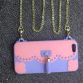 Candies Tassels Handbag Silicone Cases for iPhone 8 Plus Fashion Chain Soft Shell Cover - Pink