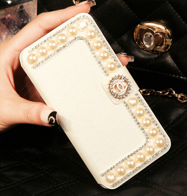 Buy Wholesale Chanel Bling Crystal Leather Flip Holster ...