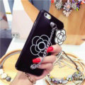 Chanel Camellia Chain Silicone Cases for iPhone 8 Plus Handbag Hard Back Covers - Black