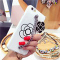 Chanel Camellia Chain Silicone Cases for iPhone 8 Plus Handbag Hard Back Covers - White