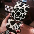 Chanel Camellia Mirror Leather Silicone Cases for iPhone 8 Plus Rope Cow Pattern Soft Cover - White