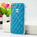 Chanel Hard Cover leather Cases Holster Skin for iPhone 8 Plus - Blue