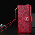 Chanel Rose Pattern Genuine Leather Case Book Flip Holster Cover For iPhone 8 Plus - Red
