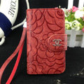 Chanel Rose pattern leather Case folder flip Holster Cover for iPhone 8 Plus - Red