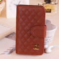 Chanel folder leather Cases Book Flip Holster Cover Skin for iPhone 8 Plus - Brown