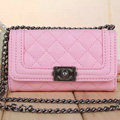 Classic Chain Chanel folder leather Case Book Flip Holster Cover for iPhone 8 Plus - Pink