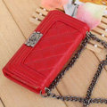 Classic Chain Chanel folder leather Case Book Flip Holster Cover for iPhone 8 Plus - Red