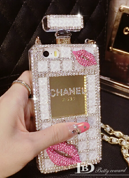 chanel iphone 8 plus case. name:classic chanel perfume bottle crystal case red lips diamond cover for iphone 8 plus - white iphone