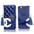Classic Fringed Chanel Rose Folder Leather Book Flip Holster Cover For iPhone 8 Plus - Blue