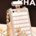 Classic Swarovski Chanel Perfume Bottle Parfum N5 Rhinestone Cases for iPhone 8 Plus - White
