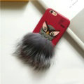 Fendi Karl Lagerfeld Owl Rabbit Fur Leather Cases for iPhone 8 Plus Hard Back Covers Unique - Red