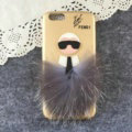 Fendi Karl Lagerfeld Rabbit Fur Leather Cases for iPhone 8 Plus Hard Back Covers Unique - Gold