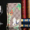 Gucci Flip Leather Cases Butterfly Pattern Book Holster Cover For iPhone 8 Plus - Brown
