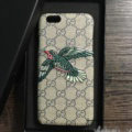 Gucci Pattern Embroidery Eagle Leather Case Hard Back Cover for iPhone 8 Plus - Gray
