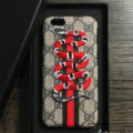 Gucci Pattern Embroidery Snake Leather Case Hard Back Cover for iPhone 8 Plus - Gray