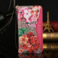 Gucci Red Flower Pattern Leather Cases Flip Genuine Holster Cover For iPhone 8 Plus - Rose
